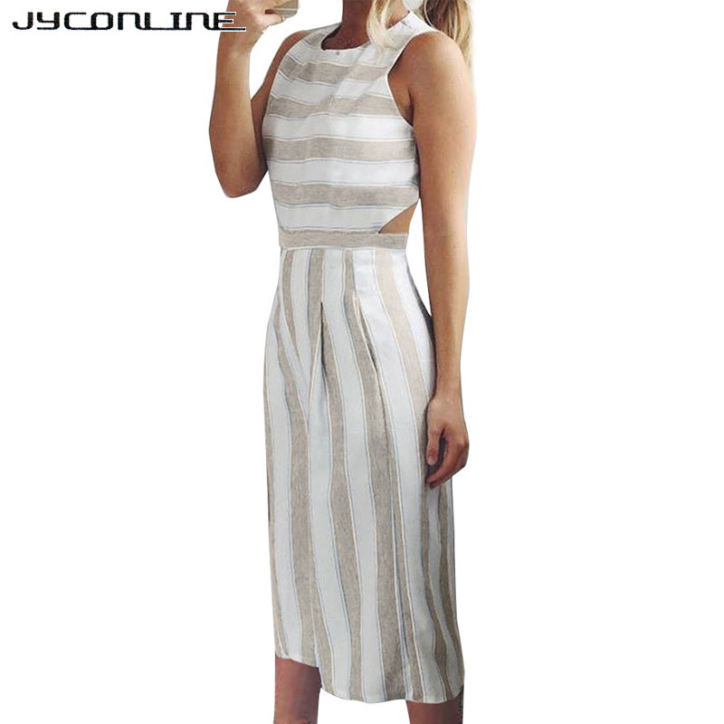 ba848b888a06 JYConline Casual Sleeveless Rompers Womens Jumpsuit Hollow Striped Jumpsuit  Overalls Loose Playsuit Women Outfit Wide Leg Pants-in Jumpsuits from  Women s ...