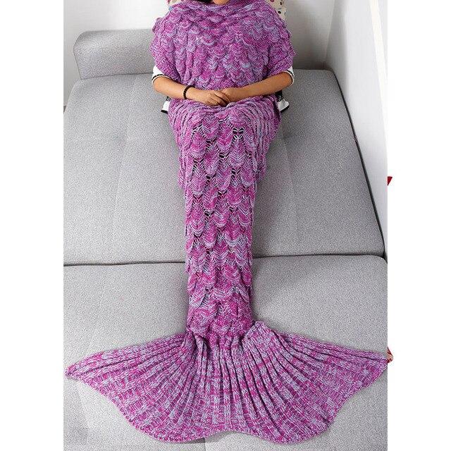 Purplegray Hot Sell Mermaid Tail Blanket Handmade Crochet Mermaid