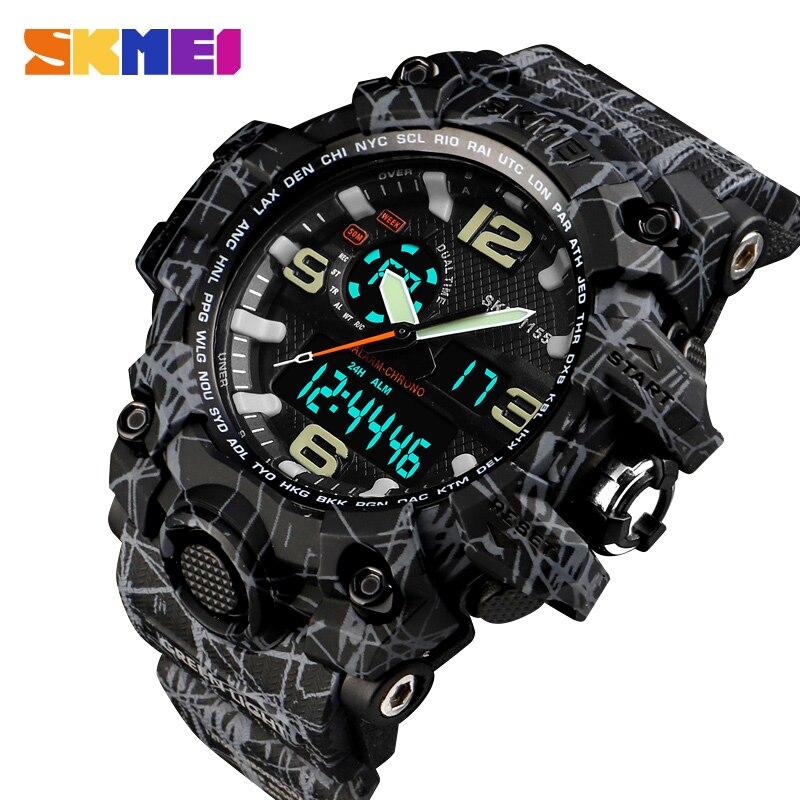 084764b75b0 Denim Estilo Marca de Luxo SKMEI Homens Esportes Relógios Digitais À Prova D   Água Relógio de Quartzo Dos Homens Homem Do Exército Relógio Militar Relogio  ...