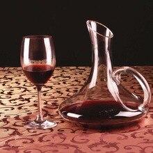 1 шт. плоское основание красного вина Графин ручной работы кристалл вино Pourer Премиум воды Carafe утолщенной стены 1700 мл JS 1101