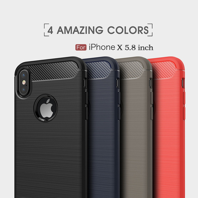 finest selection a7207 d962b US $3.83 |Fashion Slim Case For iPhone X Case Carbon Fiber Gel Soft  Silicone Shockproof Cover Coque For iPhoneX Protection Phone Cases-in  Fitted Cases ...