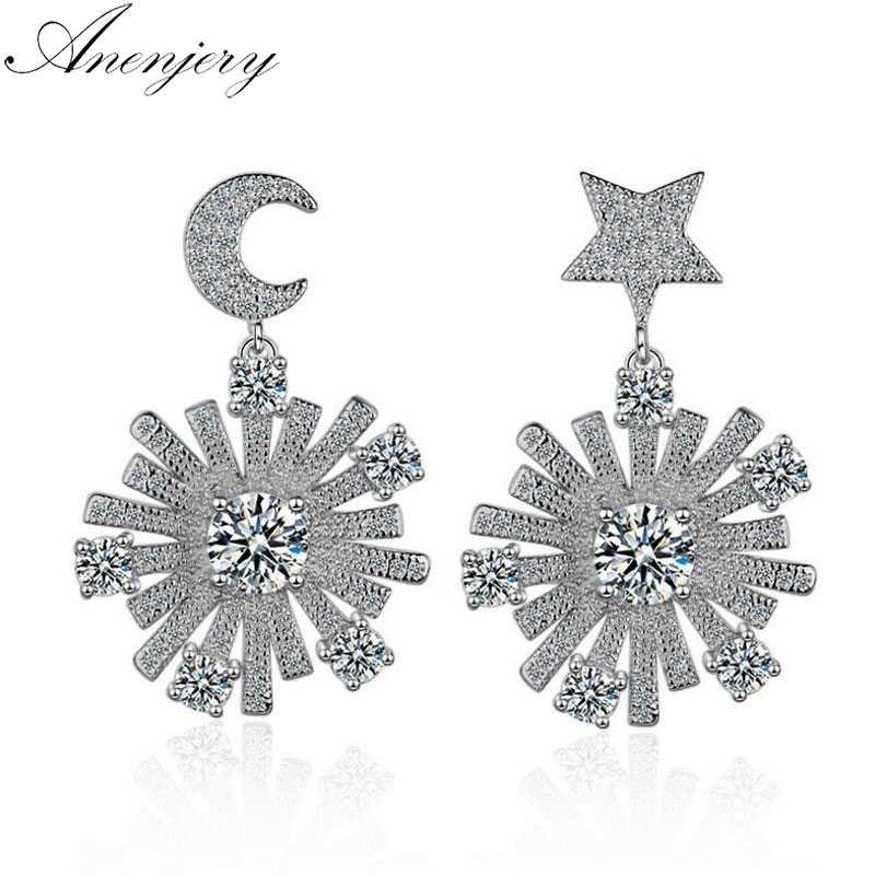 Anenjery 925 пробы серебряные серьги роскошная мозаика CZ Циркон луна звезда снежинка