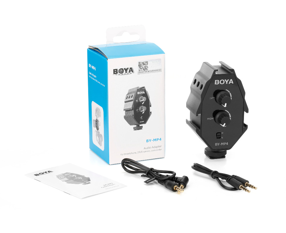 BOYA BY MP4 2 channel Audio Adapter with Mono and Stereo Switch Dual Mic Mounting for