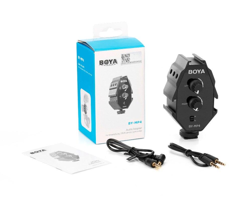 BOYA BY-MP4 2 канала аудио адаптер с моно-и стерео переключатель двойной Mic крепления для iPhone Canon цифровых зеркальных фотокамер Nikon Камера видеока...