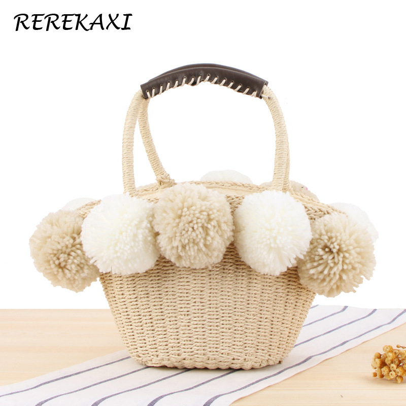 <font><b>REREKAXI</b></font> Tassel Women's Handbag Handmade Straw Bag Bohemian Summer Female Beach Bags Plush Ball Tote Women Bag Woven Basket image