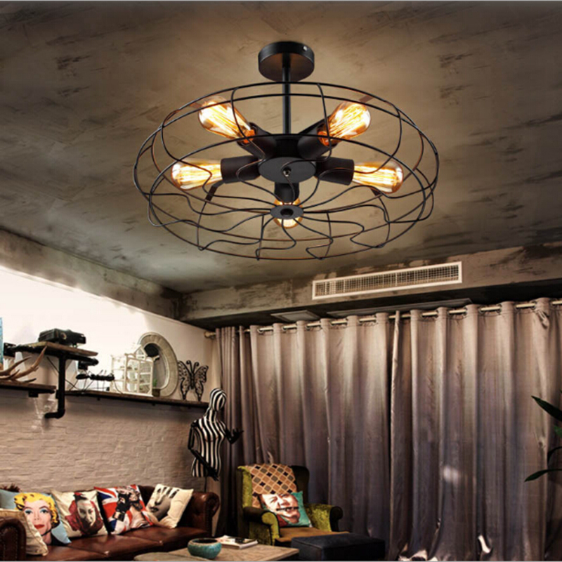 Vintage Retro Industrial Fan Ceiling Lights American Country Kitchen Loft Lamp Iron Material E27 Edison Light Bulbs vintage edison chandelier rusty lampshade american industrial retro iron pendant lights cafe bar clothing store ceiling lamp