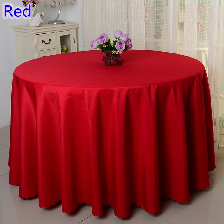 Red colour table linen polyester table cover round for wedding,hotel and restaurant round tables decoration,200GSM thick fabric