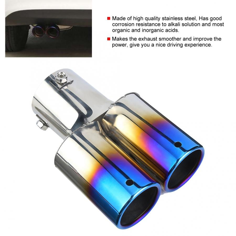 Universal Car Rear Exhaust Pipe Tail Throat Muffler Tip Stainless Steel Tailpipe