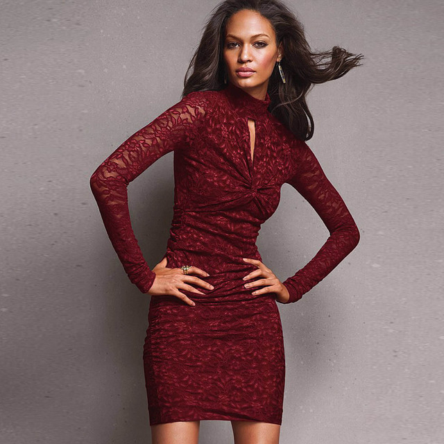 013ebf992e7ec Women s Sophisticated Lace Sexy Curve Fitting Cocktail Dress Red-in ...