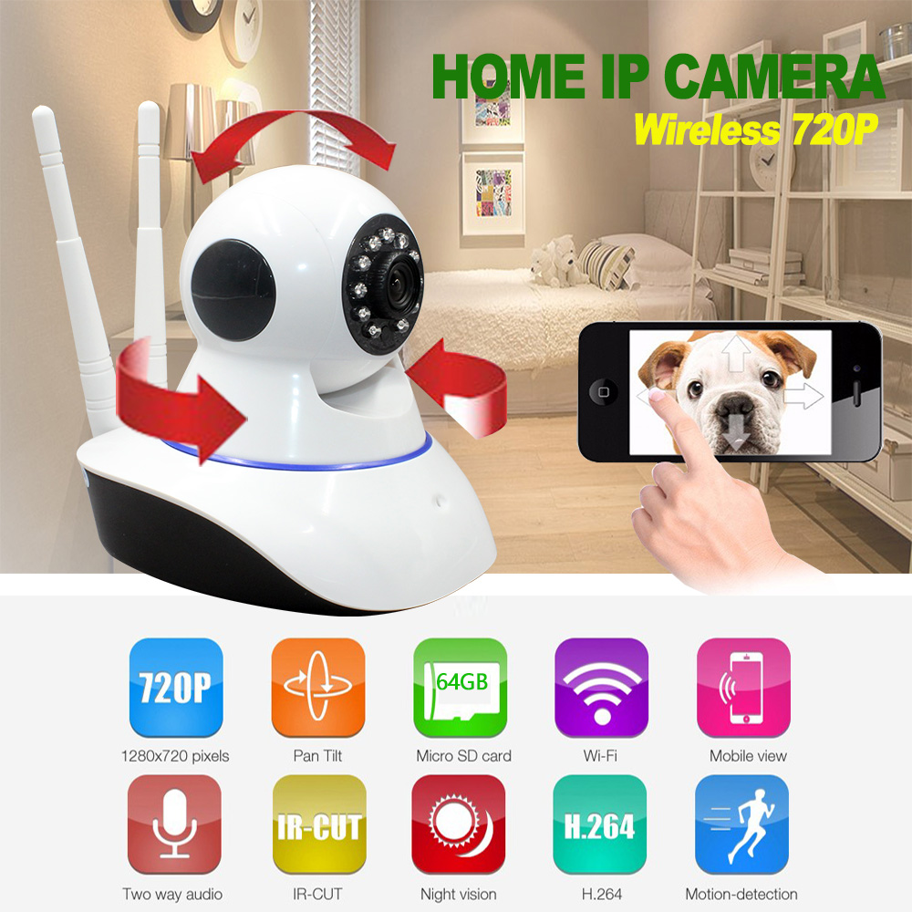 720P IP camera wifi wireless HD video surveillance security camera P2P IR infrared night vision cctv