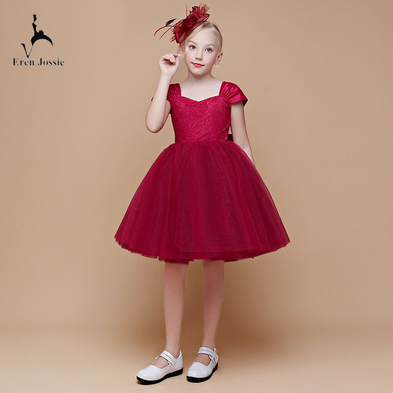 711d3ebbf7f8 Eren Jossie Burgundy Tulle Latest Party Girl's Dress With Bow Beautiful  Pageant Dress 2019 Design