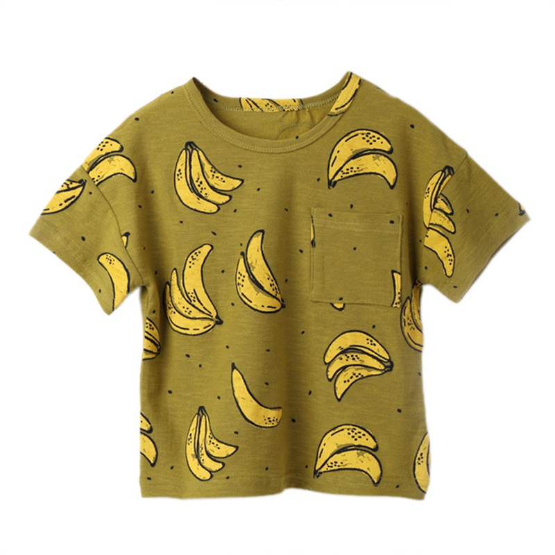 New Casual Child T-Shirt Kids Basic T Shirts Banana Print Top Tees Children Sport Clothing Baby Boy Girl Design Shirts for 9M- grid hollow design t shirts in army green