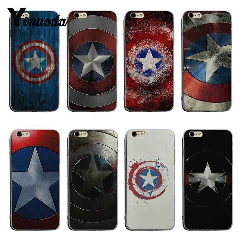 Yinuoda Captain America Shield Marvel Unique Luxury transparent soft tpu phone case For iPhone XSMax X XS XR 7 8plus 6 6s 6plus