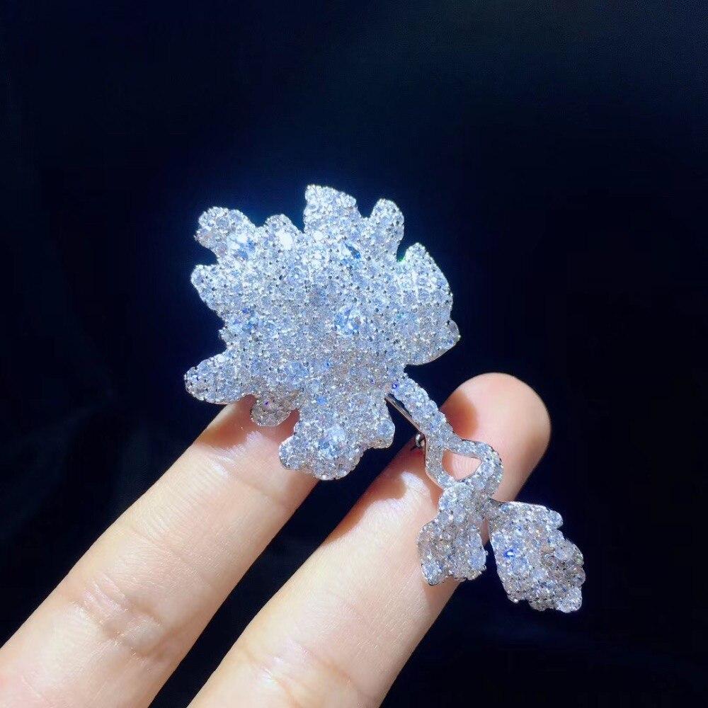 Broche à feuilles de plantes en argent sterling 925 avec zircon cubique bijoux de mode unisexe pour femmes et hommes livraison gratuite