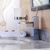 Chrome Sector Waterfall Spout Square Body Bathroom Sink Vessel Vanity Faucets Lavatory Mixer Tap Single Handle