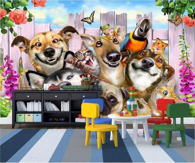 Custom Photo Mural 3d Room Wall Paper Cute Cartoon Garden Dog Cat