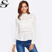Sheinside Lace Panel See Through Peplum Blouse White Sexy High Neck Long Sleeve Button Blouse 2017