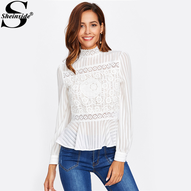 50f1fdc74511d Sheinside Lace Panel See Through Peplum Blouse White Sexy High Neck Long  Sleeve Button Blouse Women
