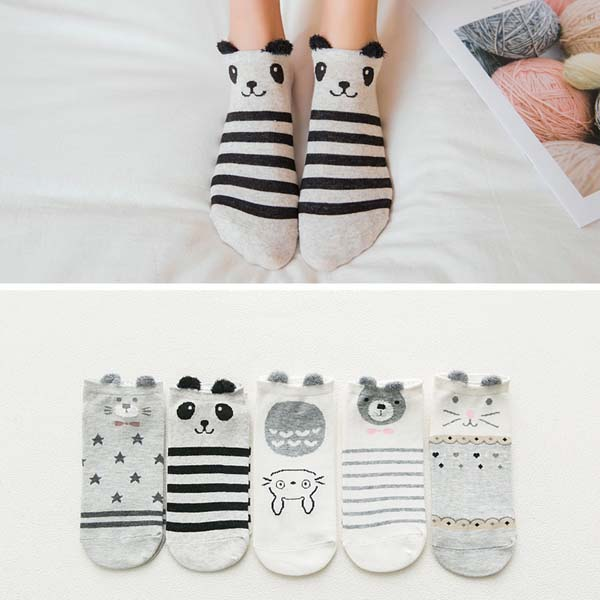 HTB1NDYTbRiE3KVjSZFMq6zQhVXaa - 5Pairs/Lot Summer Cartoon Cat Fox rabbit Socks Cute Animal Women Socks Funny Ankle Socks Ladies Cotton invisible socks