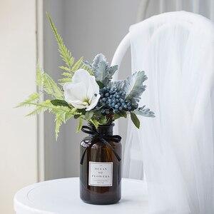 Image 5 - גיברת מלאכותי פרחים לחתונה אגרטלי פרחי בית תפאורה מלאכותי פרח זר עם אגרטל חתונת שולחן קישוט