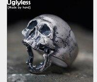 Uglyless реального S925 череп из серебра Для мужчин кольца открываемые Скелет палец кольцо ужасный готический ювелирных украшений преувеличены
