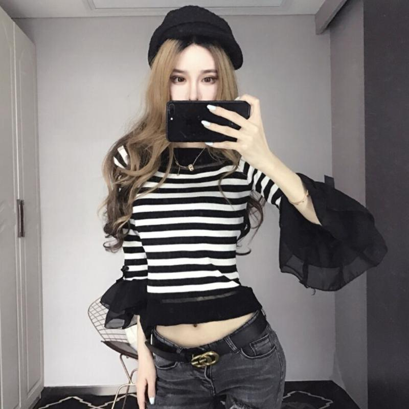 Sweet Striped Ruffles Sweater Knitted Shirts O-Neck Flare Sleeve Stitching Bowtie Pullover Stitching Tops 2018 Spring