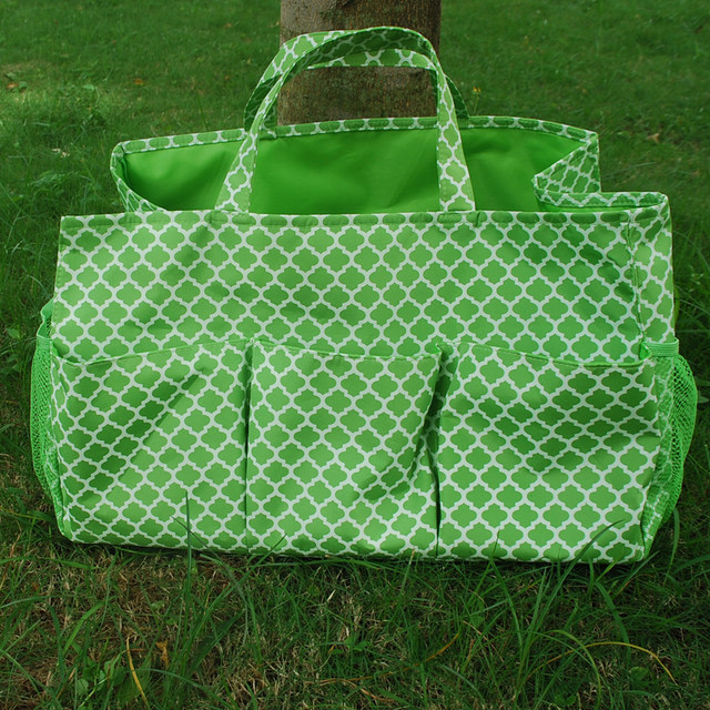 Wholesale Blanks Quatrefoil Polyester Large Garden Tote Utility Tote Bag  Garden Tool Bags In Many Colors DOM103305