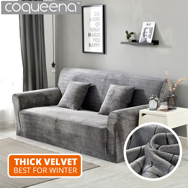 Seat Super Soft Thick Velvet Sofa Cover