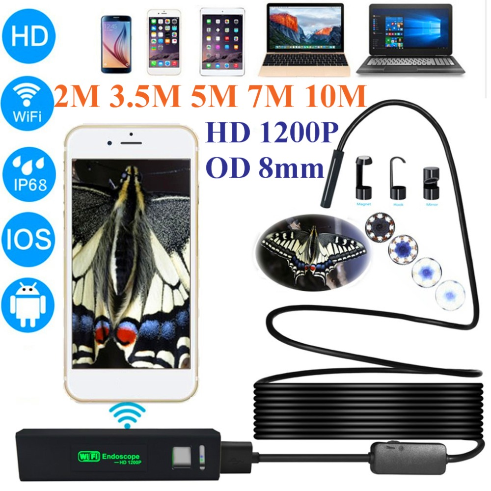LESHP 1200P HD Wireless USB Endoscope Mini Camera Waterproof Portable 8mm Lens Phone Borescope For IOS Android PC 2/3.5/5/7/10m