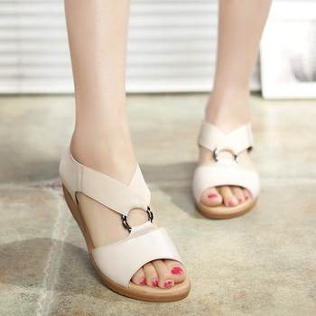 Women Sandals Cow Genuine Leather Slip On shoes