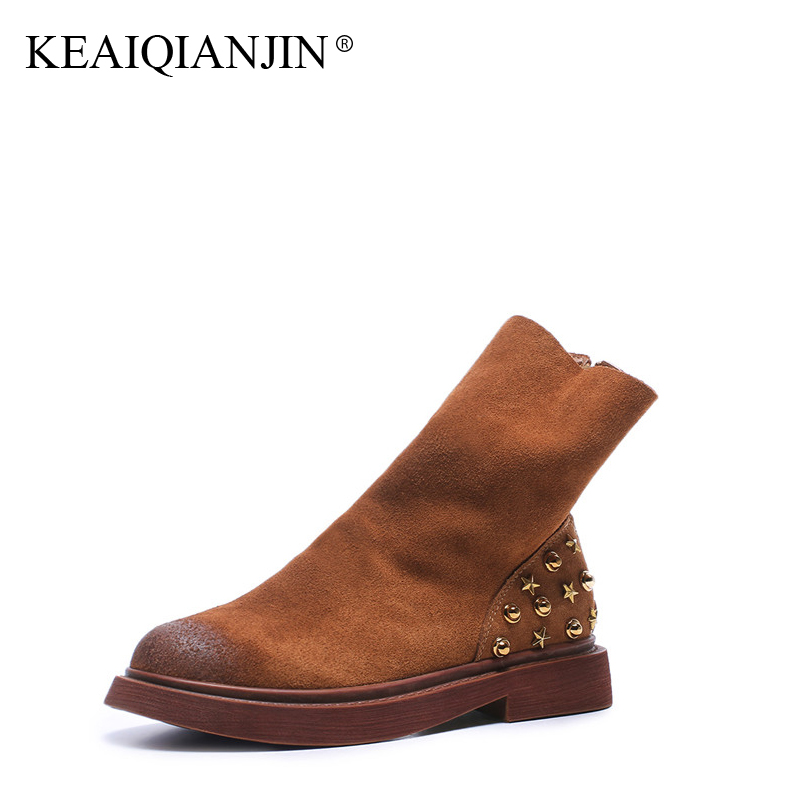 KEAIQIANJIN Woman Rivet Martin Boots Winter Autumn Bottine Plus Size 34 - 43 Black Brown Shoes Genuine Leather Ankle Boots 2017 women martin boots 2017 autumn winter punk style shoes female genuine leather rivet retro black buckle motorcycle ankle booties