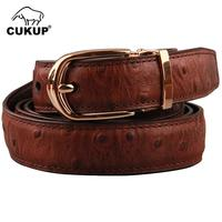 CUKUP Ladies Quality Ostrich Pattern Cow Genuine Leather Belt Pin Buckle 2.4cm Wide Dresses Jeans Accessories Women NCK453