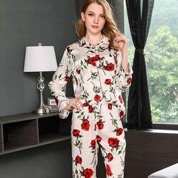 Pijama Feminino 100% Silk Pajama Sets Women Sexy Stain Pajama Set Two Piece Silk Nightwear Top and Pant Home Wear Sleepingwear