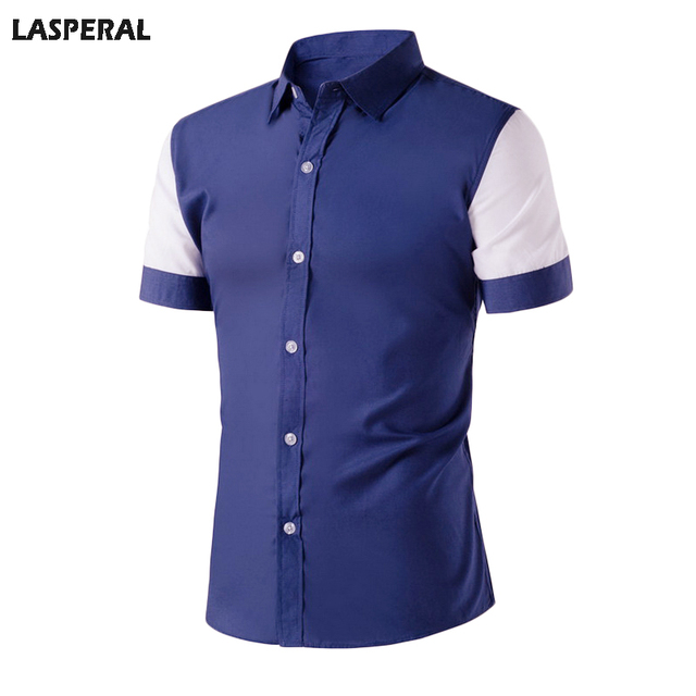 LASPERAL Casual Short Sleeve Patchwork Shirt Men Fashion 2017 Stand Single Breasted NavyBlue Top Men Shirt  Male Big Size Summer