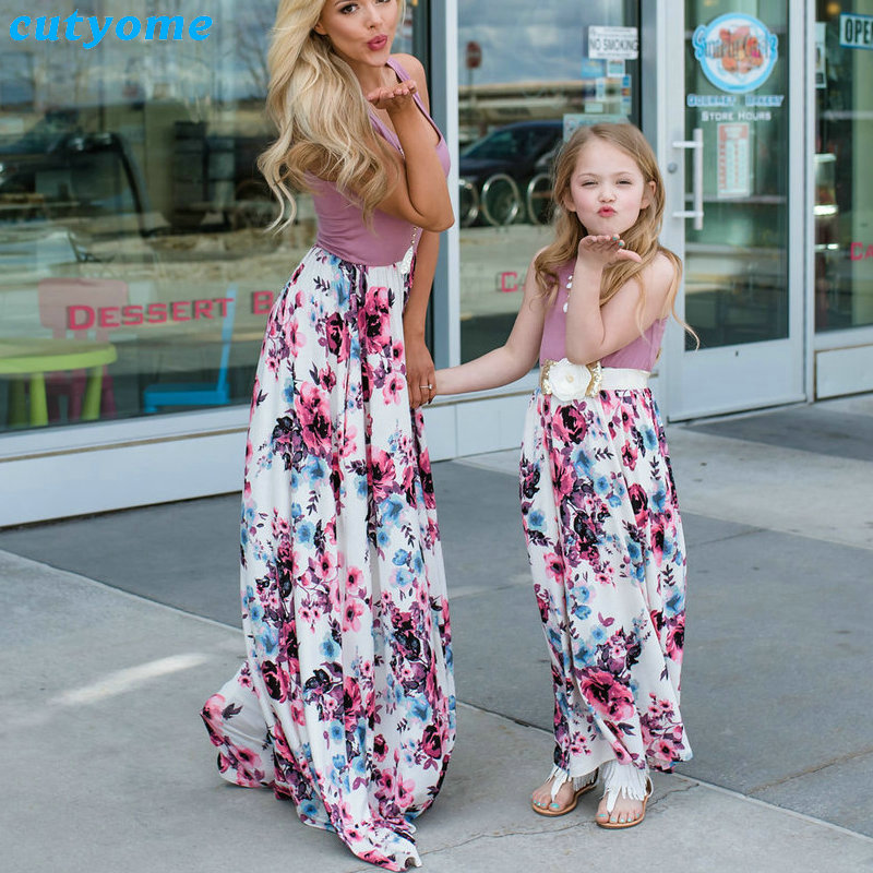 Summer Family Matching Outfits Mother and Daughter Dresses Patchwork Dress Kids Mom Daughter Floral Dress Matching Clothes 2018