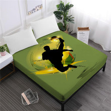 Cartoon Sports Design Bed Sheet Playing Football Basketball Fitted Teens Bedclothes Deep Pocket Bedding Home Decor D40