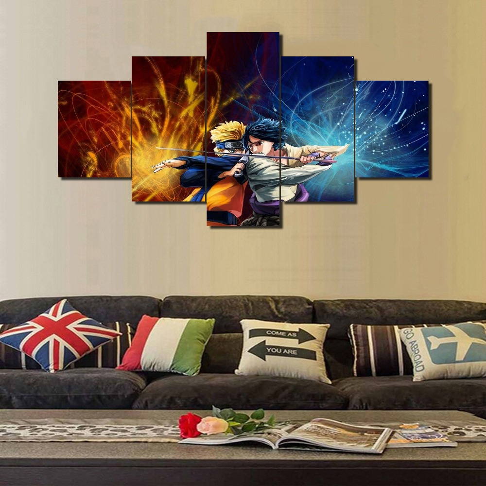 Anime Wall Art aliexpress : buy new hot sel 5 pcs modular home decor wall art