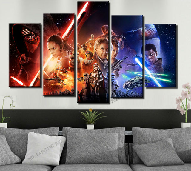 5 Piece Canvas Art Star Wars Episode The Force Awakens Movie
