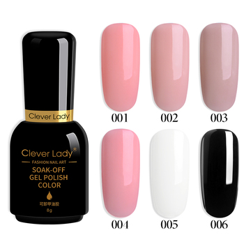 Clever Lady Rubber Base Coat Top Coat Gel Polish Nude Base UV Gel Lacquer 2 in 1 Color Camouflage Gel Base Rubber Color 8ML