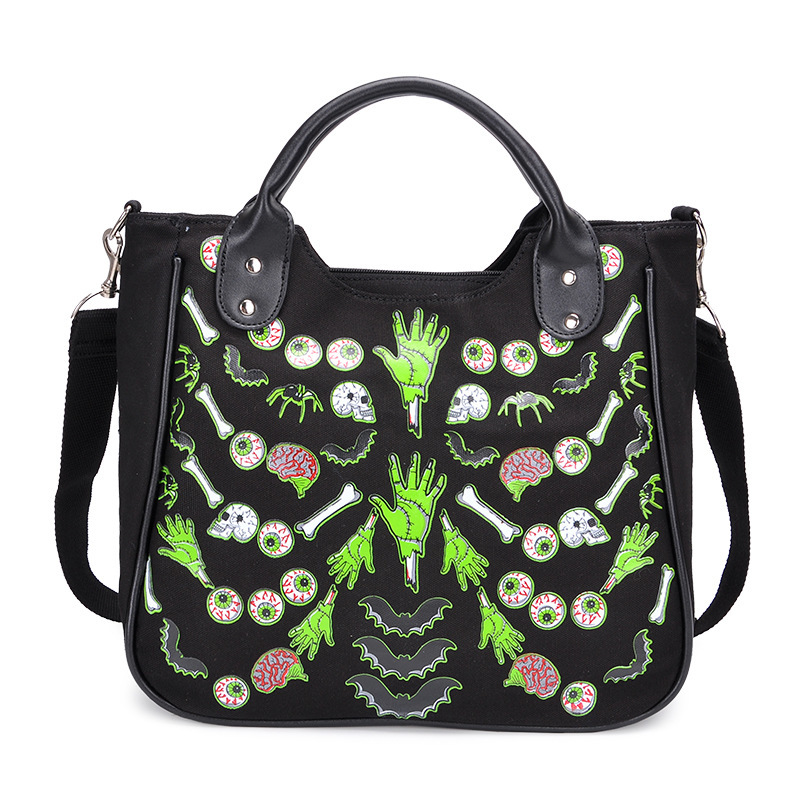 JIEROTYX Cartoon Gothic Bag Women Canvas Handbag Female Casual Floral Printing Casual Totes Women Punk Bags High Quality