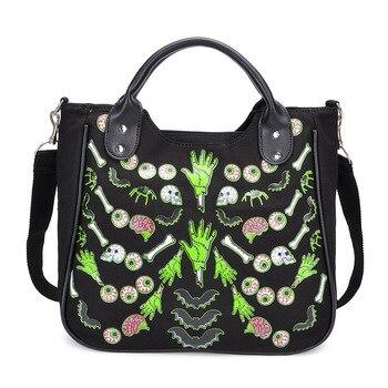 JIEROTYX Cartoon Gothic Bag Women Canvas Handbag Female Casual Floral Printing Totes Punk Bags High Quality
