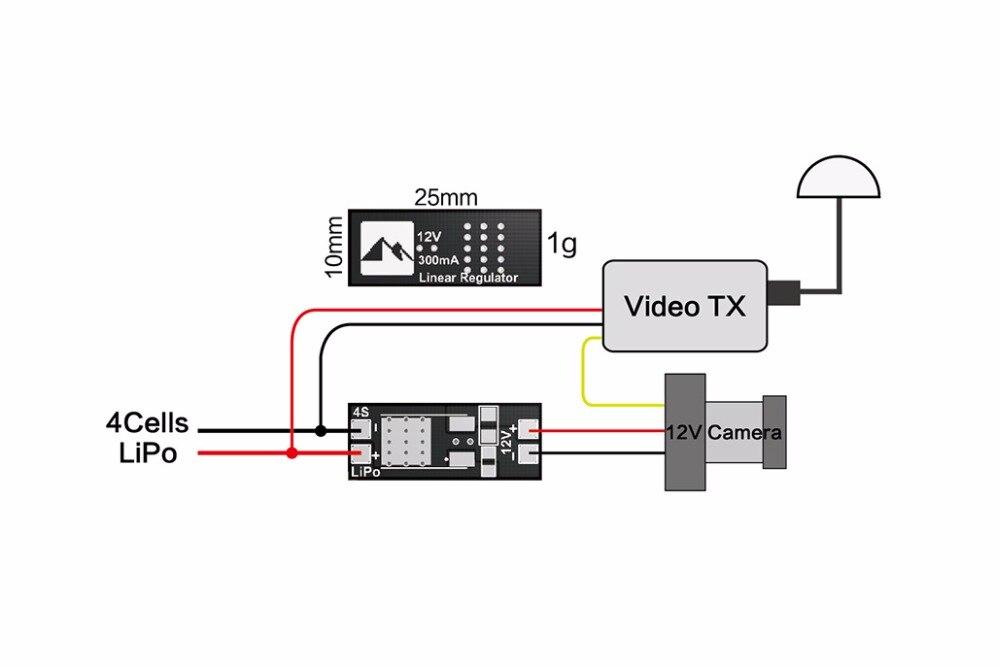 Matek Linear voltage regulator Module / BEC 4S LiPo 12V output for