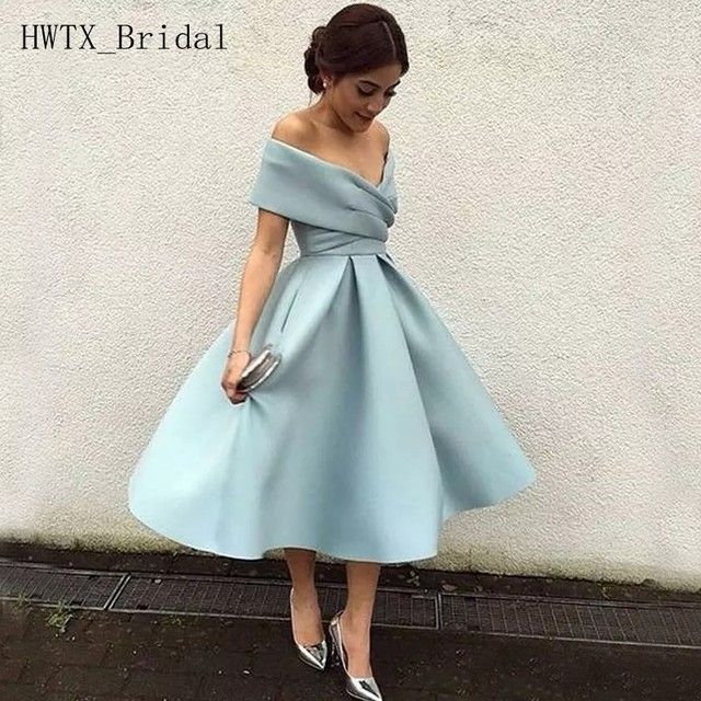 US $87.0 |Cheap Tea Length Bridesmaid Dresses Off Shoulder Plus Size A Line  Satin Wedding Guest Dress 2018 Short Maid Of Honor Gowns-in Bridesmaid ...