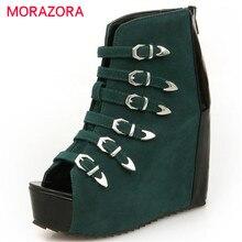 Morazora 2017 лето новинка высота увеличение peep toe странные женщины сапоги зеленый черный мода обувь высокого качества