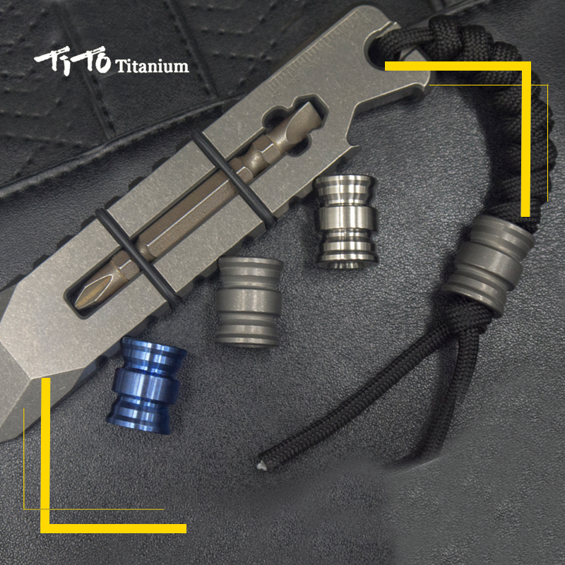 TiTo EDC Titanium Alloy Parachute Rope Hanger Pocket Limit Hand Movement Multi Tools Non Fingertip Gyroscope Rope Pendant