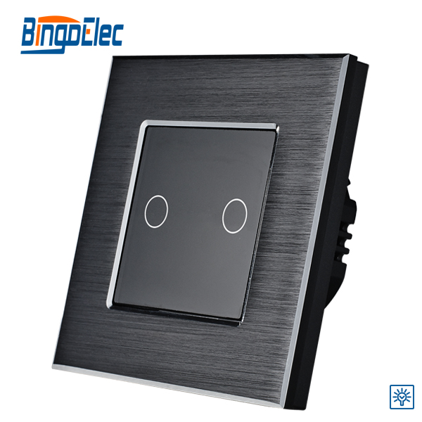 2017 Bingoelec EU/UK standard 2gang1way Touch Dimmer Switch Black Aluminum Panel Light Switch Electrical Wall Switch AC110-240V 1gang 1way touch remote dimmer switch glass panel touch dimmer light switch eu uk standard ac110 240v hot sale