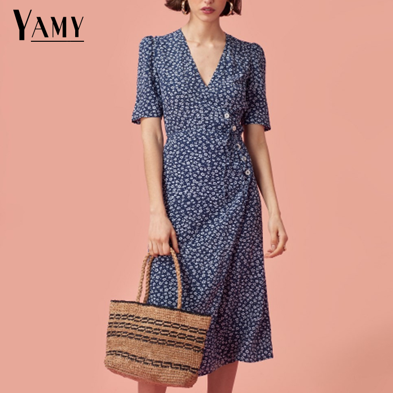 Vintage kawaii floral star print high waist wrap dress elegant women boho vestidos beach summer dress 2018 korean fashion