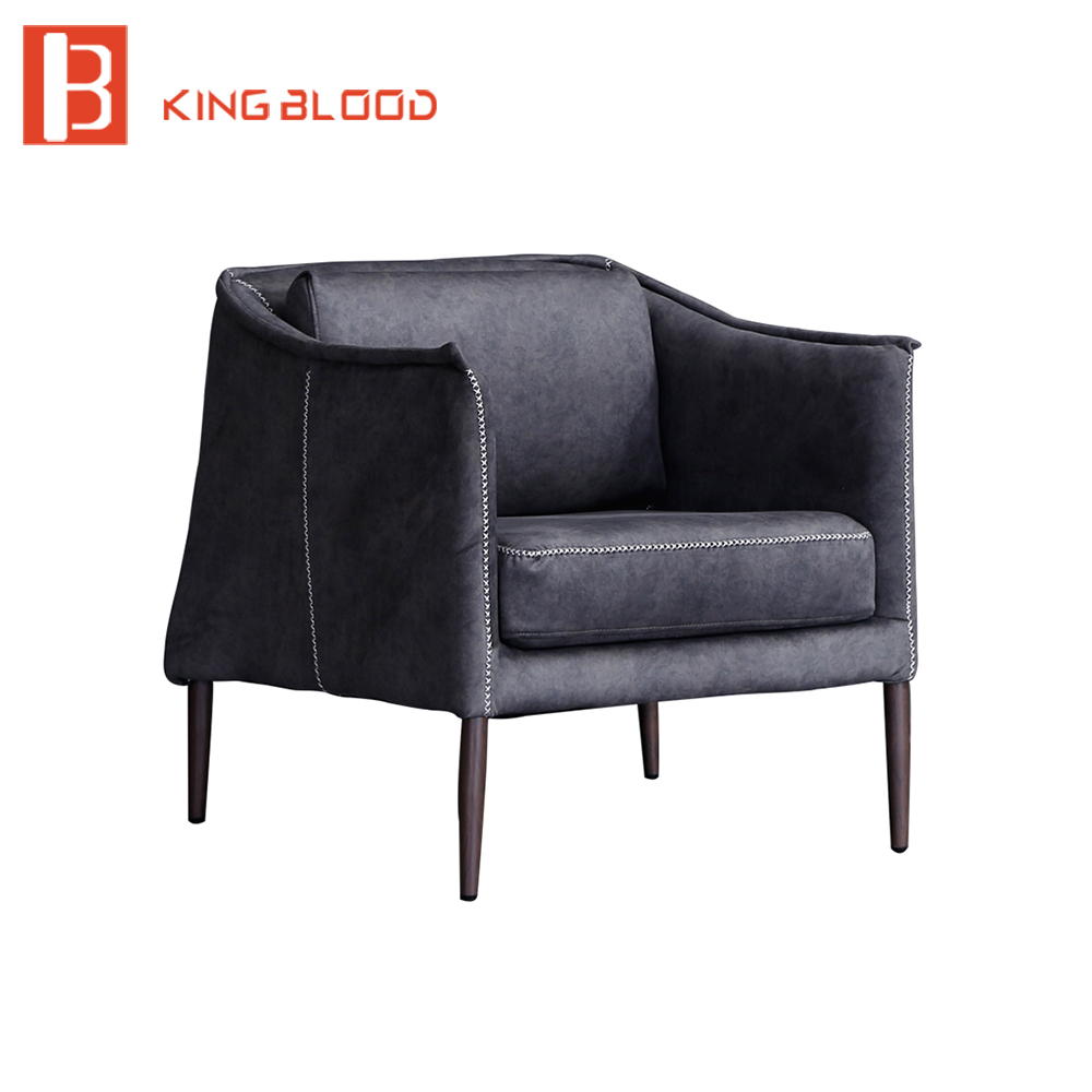 living room furniture sets iron leg single sofa chair fabric armchair