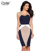 Womens Elegant Optical Illusion Colorblock Contrast Modest Slim Work Business Casual Party Sheath Pencil Dress 8813