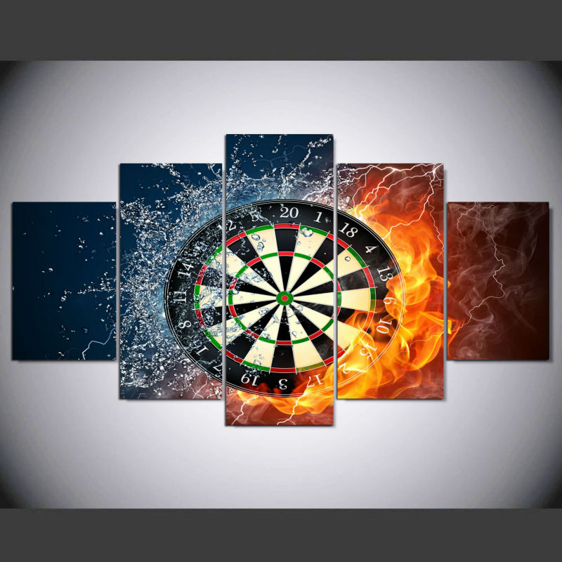 Real Fallout 5 Piece Darts Wheel Target Fire Water Home Wall Decor Picture Print On Canv ...